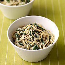 Spaghetti met spinazie en ricotta