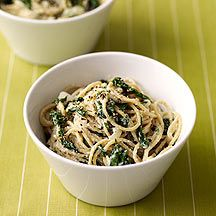 Spaghetti with Creamy Spinach Sauce  WW