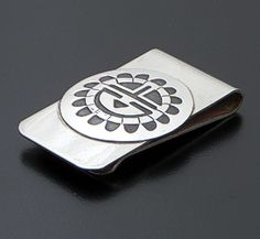 Stanley Gene (Navajo) - Satin Finished Sterling Silver & Stainless Steel Sunface Money Clip #3381 $50.00
