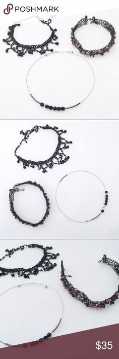 Bundle of 3 - 90s Style Choker Necklaces Bundle of three miscellaneous chocked necklaces. One bead missing from black beaded dangle one but all in great shape otherwise. Jewelry Necklaces