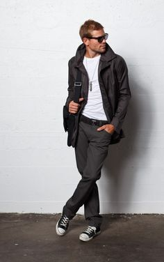Men's Fashion 2013, mix of high end coat and pants with basic white tee and chucks is great day look for just about any man #mensfashion #menscasualfashion #menscoats