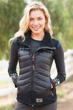First Snow - Ultra-Light Vest  For those days when you don't need a full coat, our First Snow ultra light vest will keep you warm and looking wonderful whether heading to the office or the hills. #alpnrock #apresski #winterfashion