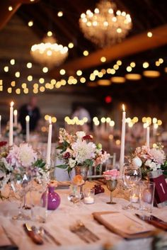Taper Candle and Vintage Silver Wedding Centerpiece