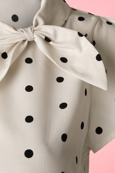 Garland Polkadot Top in Cream Clothing Patterns, Dress Patterns, Look Office, Summer Day Dresses, Kurta Neck Design, Prom Dresses With Sleeves, Summer Blouses, Classy Work Outfits, Western Dresses