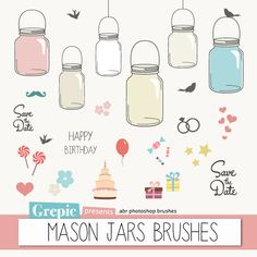 "Photoshop brush mason jars: ""MASON JARS BRUSHES"" - 24 high quality mason jars photoshop brushes and birthday & wedding elements"