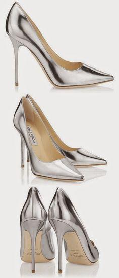 Brilliant Luxury * Jimmy Choo ABEL Silver Mirror Leather Pointy Toe Pumps