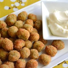 Healthy Fried Olives - Okay, not as healthy as they COULD be with some Panko instead and a Greek yogurt dipping sauce, for instance...