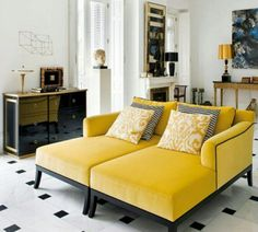 These mellow yellow chaises will brighten up any living space.
