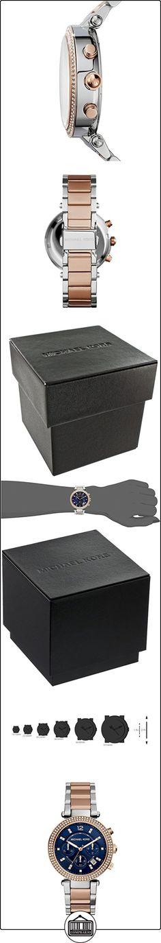 Michael Kors MK6141 - Reloj de cuarzo con correa de acero inoxidable para mujer, color azul  ✿ Relojes para mujer - (Gama media/alta) ✿