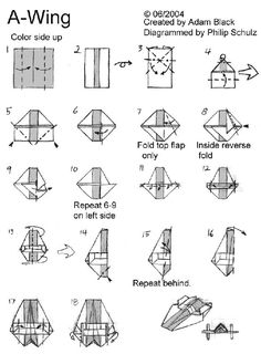 """10 Diagrams To Create Your Own """"Star Wars"""" Origami  Warning: Some of these may cause frustration. Which leads to hate, which leads to suffering, which leads to the Dark Side."""