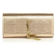 Saint Laurent Monogram Metallic Lizard-Embossed Leather Tassel Clutch (€1.680) ❤ liked on Polyvore featuring bags, handbags, clutches, pochettes, purses, torebki, apparel & accessories, gold, leather purse and metallic leather purse