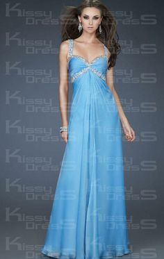Blue Chiffon Empire Straps Sleeveless Long Prom Dress