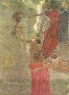 Painted composition design to medicine, 1887-1888 - Gustav Klimt