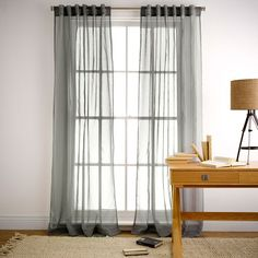 Mineral Charcoal Sheer 180x250cm Concealed Tab Top Curtain