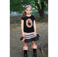 Black Chevron Skirt Halloween witch shirt for girls and chevron skirt for Halloween  so cute!