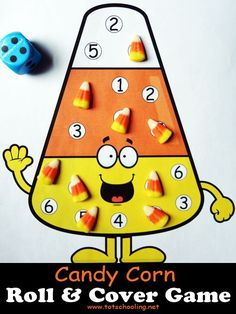 Candy Corn Roll & Cover Math Game Free printable candy corn math game using dice and candy, for kids to practice counting and number recognition. Great for the Fall season or around Halloween. Fall Preschool, Preschool Math, Kindergarten Math, Fun Math, Math Games, Math Activities, Math Math, Counting Games, Math Vocabulary