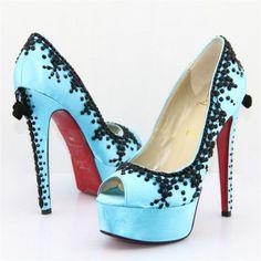 Christian Louboutin Torero Satin Pumps Blue www. Cheap Christian Louboutin, Red Bottom Shoes, Blue Pumps, Satin Pumps, Red Bottoms, Pretty Shoes, Fashion Shoes, Fashion Models, Fashion Trends