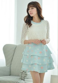 Lace sleeves are trending. Top goes great with this pastel colored skirt.  -Lily  #asianfashion