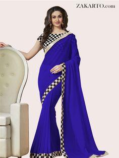 6040db34b2 GEORGETTE BLUE BOLLYWOOD #saree Aditi Arya, Blue Saree, Bollywood Saree,  South India