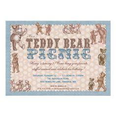 Vintage Style Teddy Bear Picnic Invitation - Blue