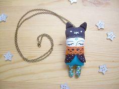 Cat Handmade Rag Doll Brooch Necklace