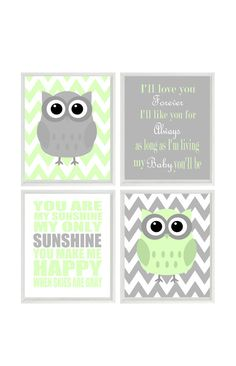 Nursery Art Owl Print Set  - You Are My Sunshine Quote - Owls Gray Light Green - Chevron - Custom Wall Art - Set Of 4 8x10