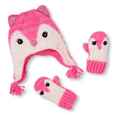 cd4e1c3a31d Baby Girls Toddler Neon Shimmery Fox Hat And Mittens Set - Pink - The  Children s Place
