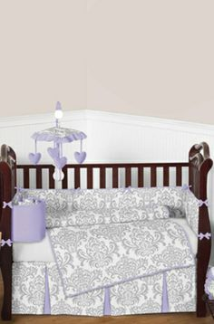Decorating your baby girl nursery with charming #damask themed #babybedding.