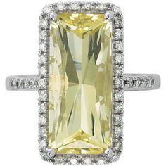 Lime Quartz & Diamond Ring