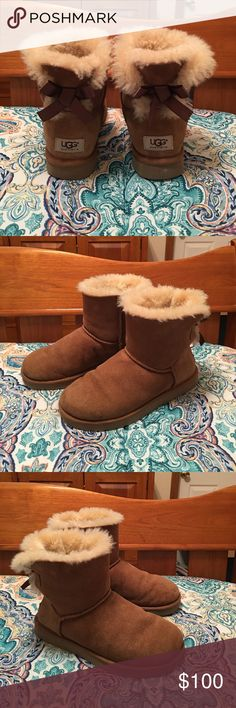 UGG Mini Bailey Bow boots VGUC Authentic UGG Mini Bailey Bow boots. Chestnut color UGG Mini Bailey Bow boots with satin brown bow on the back. The fur is still soft and plush. There are a couple spots on the left boot, as shown in pictures #7 & #8. There are some folds in the boots, where they bent when used. Other than the flaws lusted, the boot is in very good used condition. Comes from a smoke free home. UGG Shoes