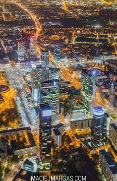 Warsaw city center by night Warsaw City, Warsaw Poland, Ukraine, Poland Cities, City Landscape, My Heritage, City Lights, Places To See, City Photo