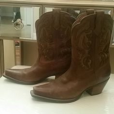 * SOLD * Ariat cowboy boots Size 7.5. Very lightly used. Worn maybe 5 times. Ariat cowboy boots with 2 inch heel.  Soft brown leather. Ariat Shoes Heeled Boots
