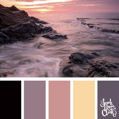A beautiful color palette inspired by the sunset - I love this color combo! | Click for more color combinations inspired by beautiful landscapes and other coloring inspiration at https://sarahrenaeclark.com | Colour palettes, colour schemes, color therapy, mood board, color hue