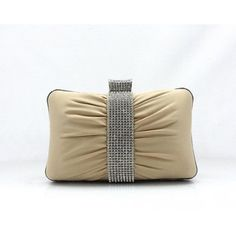 Ladies Hard Case Single Rhinestone Ring Minaudiere Handbag Evening Party Clutch for Gift-Apricot