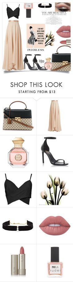 """Lady Marmalade"" by cleopasashley ❤ liked on Polyvore featuring Gucci, Lanvin, Tory Burch, Yves Saint Laurent, Anissa Kermiche, Lime Crime, Ilia and ncLA"