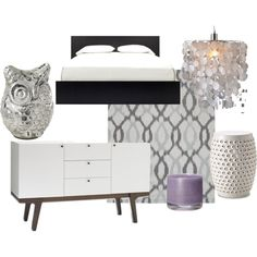 Bedroom - love gray and purple together