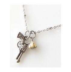 silver gun necklace, weapon necklace, western jewelry, cowgirl necklace, gun jewelry, weapon jewelry, pistol jewelry necklace. $20.00, via Etsy.