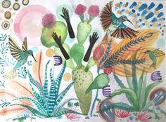Art, Painting, Watercolor, Folk Art, Bird, Feathers, Hummingbird, Succulent, Cactus, Full Moon by Mikoazule on Etsy