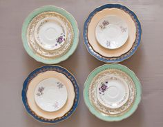 "Set of 12 mismatched porcelain dinner plates. French mismatched porcelain plates for a beautiful ""Shabby Chic"" table."