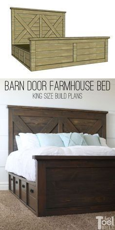 Free plans to build a king size barn door farmhouse bed with double X details. The bed base has 6 large drawers for storage. Furniture Plans, Bed Plans, Diy Furniture Plans, Furniture, Diy Farmhouse Bed, Diy Furniture Projects, Bedroom Furniture, Farmhouse Bed Frame, Farmhouse Furniture