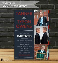 TWINS LDS Baptism Announcement for Boys, Red White and Blue Baptism Invitation Customized 5x7 Printable Digital File by SubZero Digital Design on Etsy