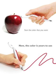 Designer Jinsun Park has designed the Color Picker concept, a marker that is made with a color sensor and ink cartridges. When you spot a color that you would like to use in the real world, simply scan the sample with one end of the pen, which will detect the color and use the RGB cartridge to mix the necessary inks to produce the target color.