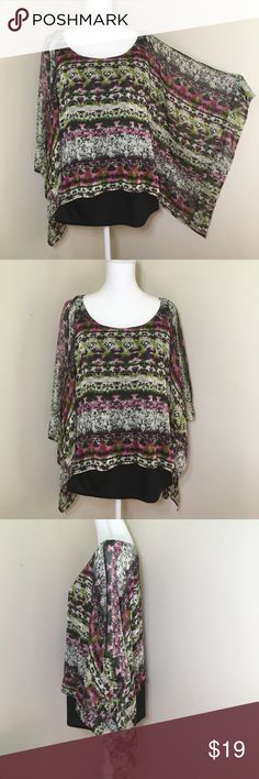 """Dress Barn Poncho Blouse Shirt 18/20 Beautiful Mixed Print Poncho By Dress Barn. Colorful printed poncho in white, green and pink. Fully lined with black fabric. Pre loved in great condition!. Made in the USA of imported fabrics.  Total length 26 1/2"""". Dress Barn Tops Blouses"""