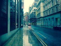 A wet Fountain Street, Manchester city centre.