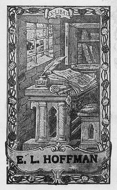 Bookplate of E.L. Hoffman Description: States, 'Ex-Libris E.L. Hoffman;' depicts a desk setting with an open book, an inkwell with a quill, a bookshelf, and a window. Unsigned. Format: 1 print, b&w, 11 x 7 cm. Source: Pratt Institute Libraries, Special Collections 498 (sc00497)