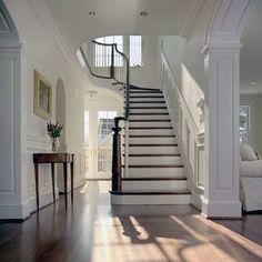 Bm Linen White Klassisch Eingang with Wainscoting by Anthony Wilder Design/Build, Inc. at Dc Metro Entryway Stairs, Entryway Decor, Grand Staircase, Staircase Design, Hallway Paint Colors, Traditional Staircase, Foyer Decorating, Interior Decorating, Stair Railing