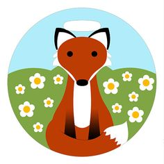 Luggage Tag  Red Fox in a Field of Daisies  2.5 inch by ebonypaws