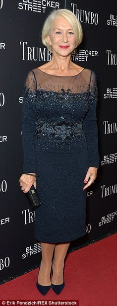Class act: Helen Mirren, 70, and Diane Lane, 50, were beautiful, classy and age-defiant at the NY premiere of their latest film Trumbo on Tuesday