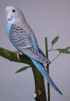 63/4 inch Budgerigar blue Hand Carved Wooden Bird by jjstudio