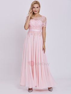 Tidebuy.com Offers High Quality Scoop Neck Short Sleeves Sashes Appliques A Line Prom Dress, We have more styles for Prom Dresses  2017
